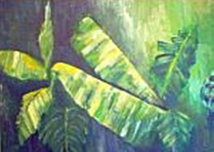 Banana Leaf Greeting Card featuring the painting Banan Leaf by Carol P Kingsley