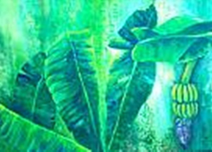 Greeting Card featuring the painting Banan Leaves 5 by Carol P Kingsley