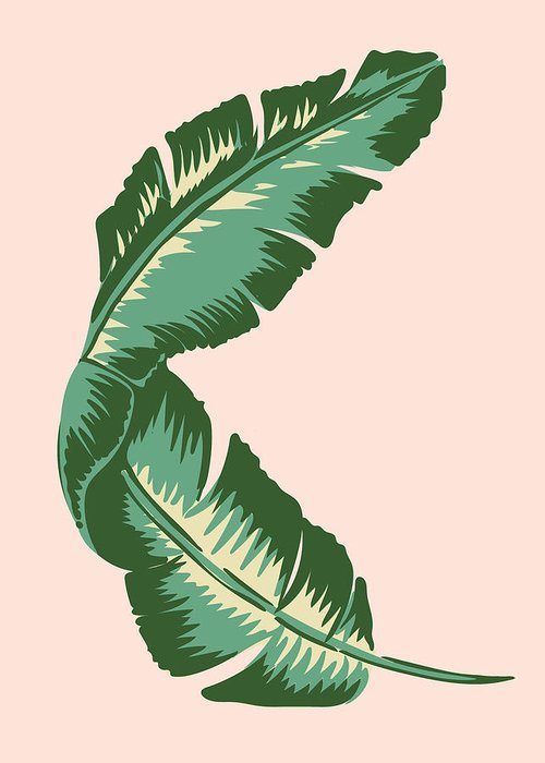 Leaf Greeting Card featuring the digital art Banana Leaf Square Print by Lauren Amelia Hughes