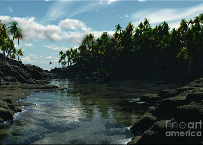 Rivers Greeting Card featuring the digital art Banana River by Richard Rizzo