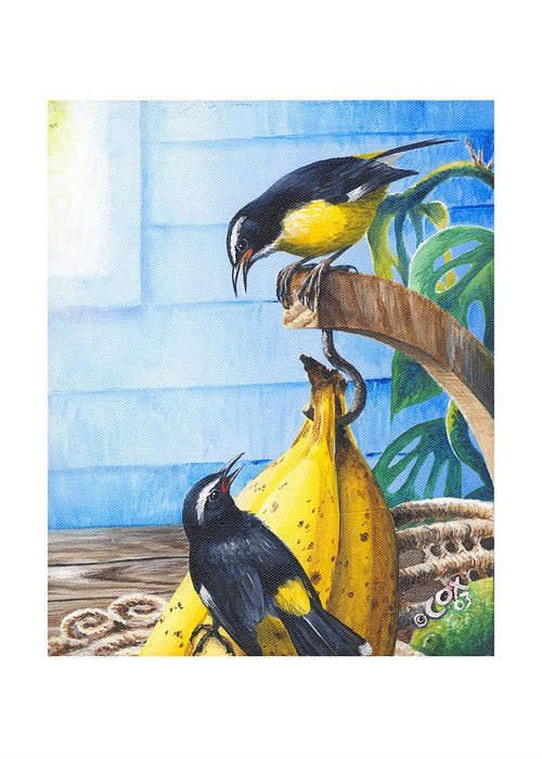 Chris Cox Greeting Card featuring the painting Bananaquits And Bananas by Christopher Cox