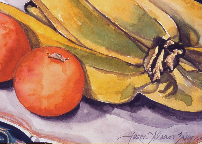 Still-life Greeting Card featuring the painting Bananas And Blood Oranges Still-life by Caron Sloan Zuger