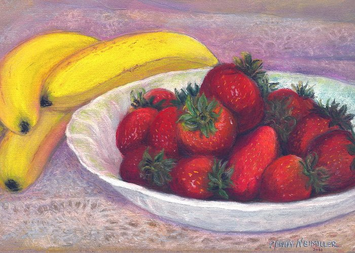 Paintings With Strawberries In Greeting Card featuring the painting Bananas And Strawberries by Penny Neimiller
