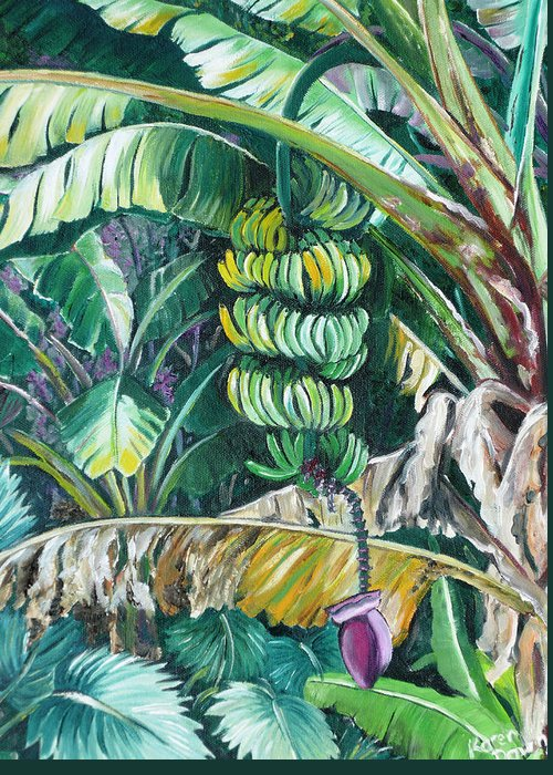 Caribbean Painting Bananas Trees P Painting Fruit Painting Tropical Painting Greeting Card featuring the painting Bananas by Karin Dawn Kelshall- Best