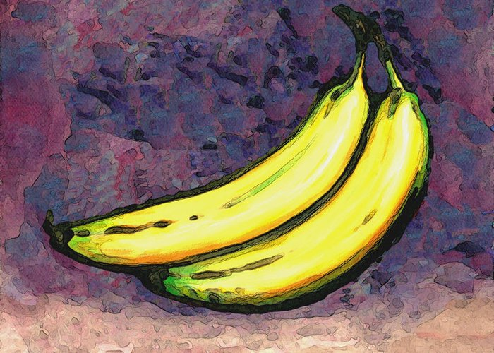 Bananas Greeting Card featuring the painting Bananas Three by Linda Mears