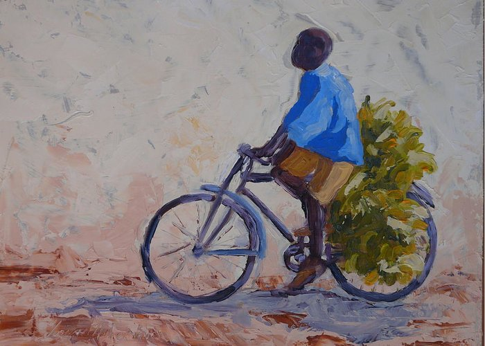 Bicycle Greeting Card featuring the painting Bananas by Yvonne Ankerman