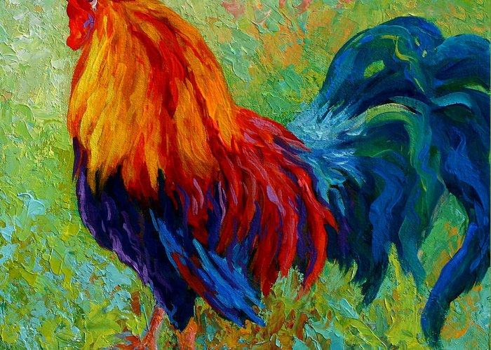 Rooster Greeting Card featuring the painting Band Of Gold by Marion Rose