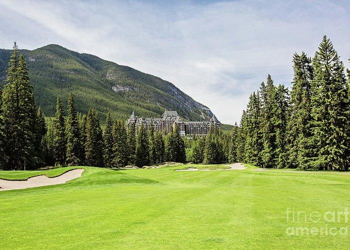 Banff Springs Golf Course Greeting Card featuring the photograph Banff Springs Golf And The Castle by Scott Pellegrin