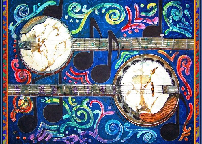 Banjo Greeting Card featuring the painting Banjos - Bordered by Sue Duda