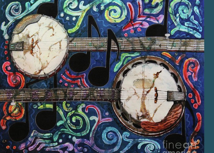 Banjo Greeting Card featuring the painting Banjos by Sue Duda