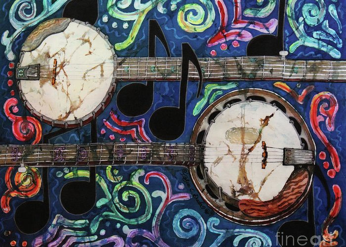 Banjos Greeting Card featuring the painting Banjos by Sue Duda
