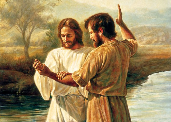 Jesus Greeting Card featuring the painting Baptism Of Christ by Greg Olsen