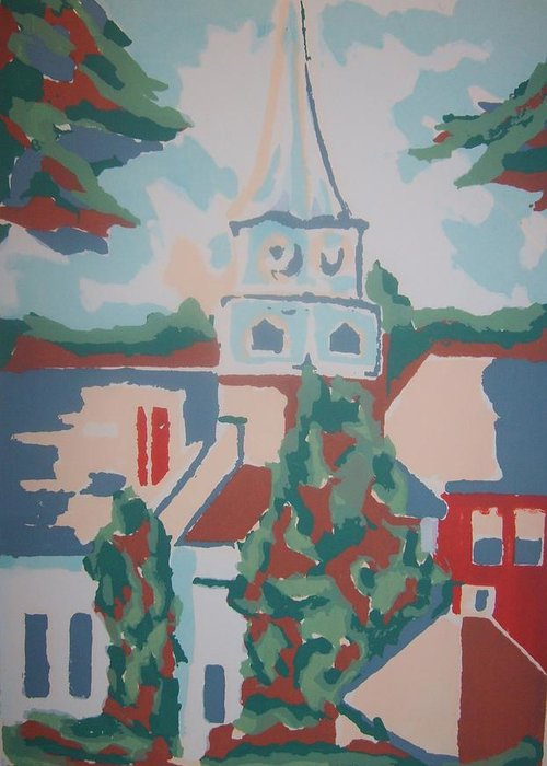Church Building Landscape Religious Greeting Card featuring the drawing Baptist Church In Gorham Maine by Joseph Sandora Jr