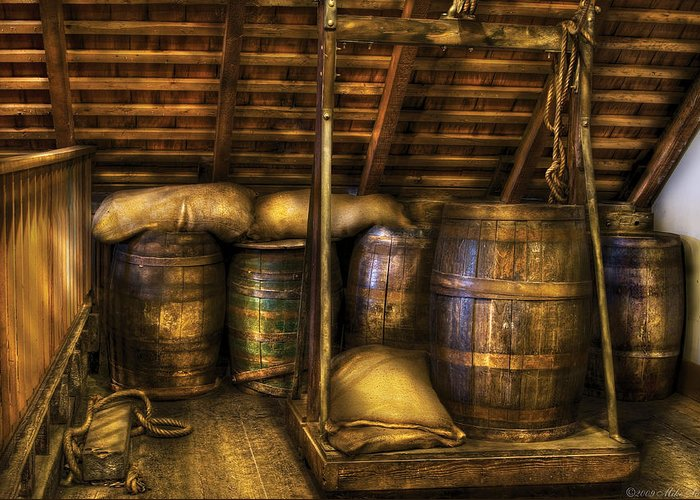 Savad Greeting Card featuring the photograph Bar - Wine Barrels by Mike Savad