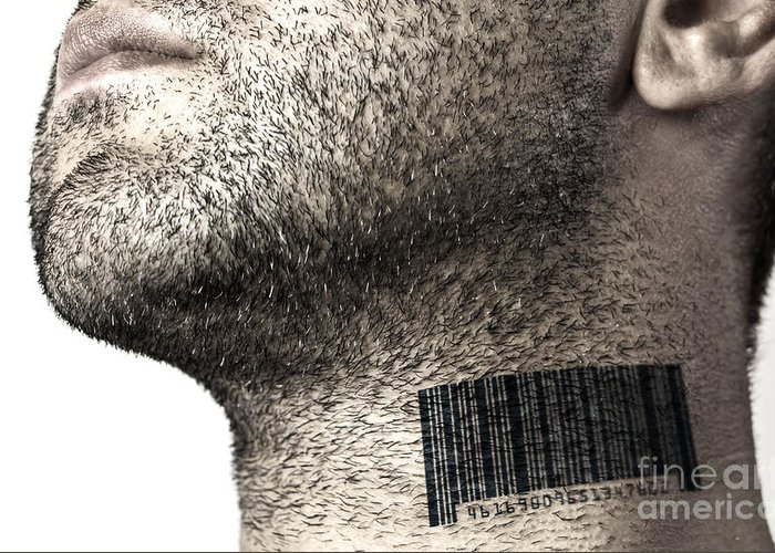 Bar Code Greeting Card featuring the photograph Bar Code On Neck by Blink Images