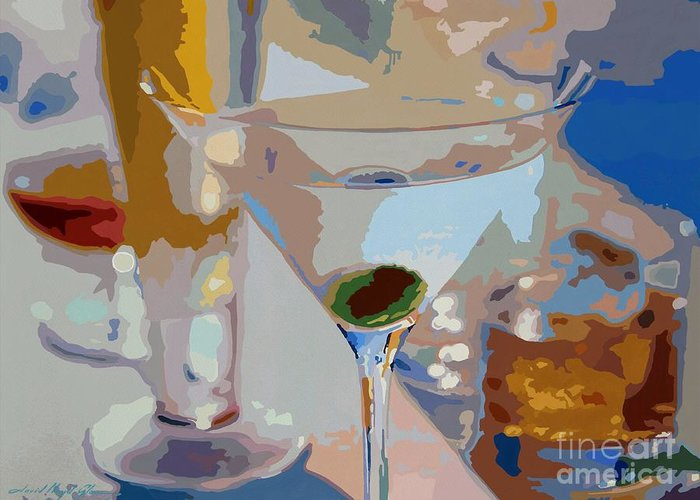 Bars Greeting Card featuring the painting Bar Drinks by David Lloyd Glover