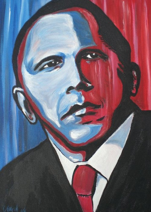 Obama Greeting Card featuring the painting Barack by Colin O neill