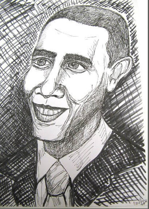 Portrait Greeting Card featuring the drawing Barack Obama by Caroline Lifshey