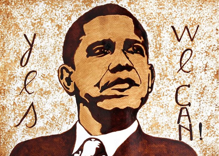 Barack Obama Original Coffee Art Greeting Card featuring the painting Barack Obama Words Of Wisdom Coffee Painting by Georgeta Blanaru