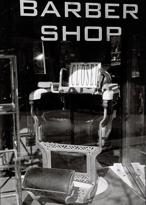 Window Greeting Card featuring the photograph Barber Shop Window by Filipe N Marques