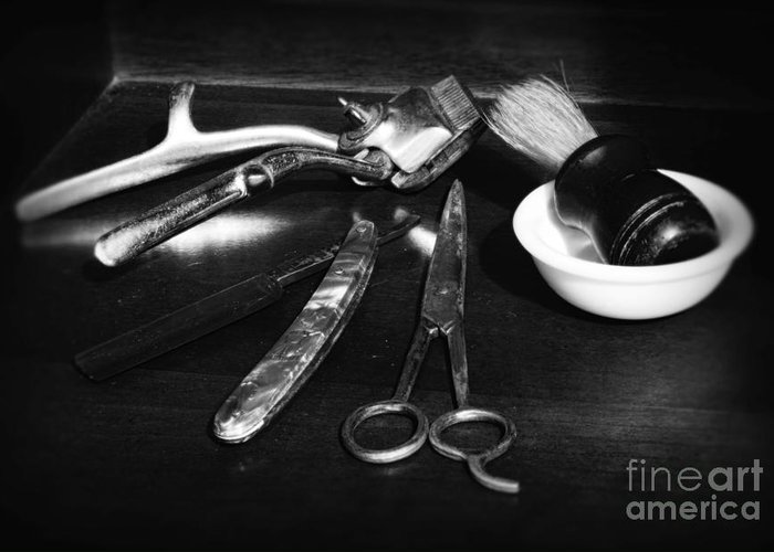 Barber - Things In A Barber Shop Greeting Card featuring the photograph Barber - Things In A Barber Shop - Black And White by Paul Ward