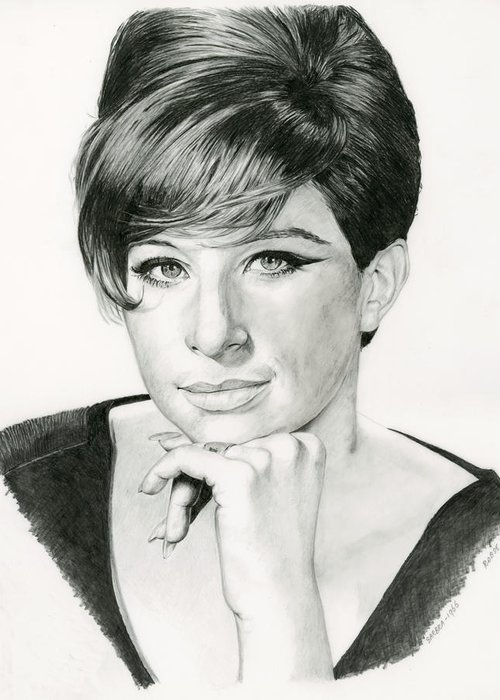 Barbra Greeting Card featuring the drawing Barbra by Rob De Vries