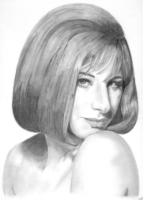 Singer Greeting Card featuring the drawing Barbra Streisand by Rob De Vries