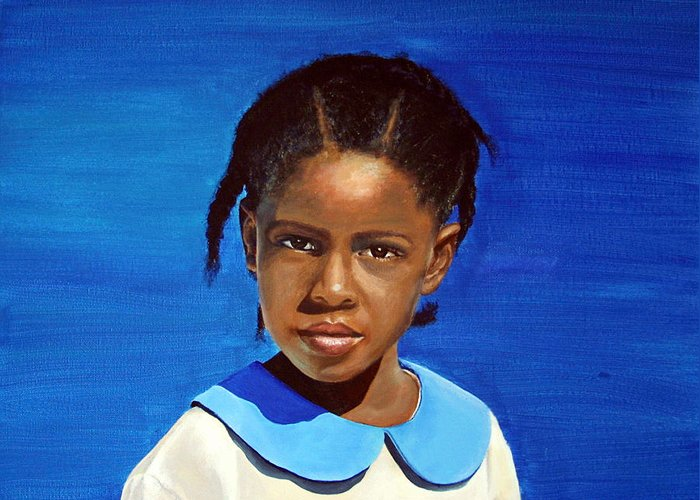 Portrait Greeting Card featuring the painting Barbuda School Girl by Fiona Jack