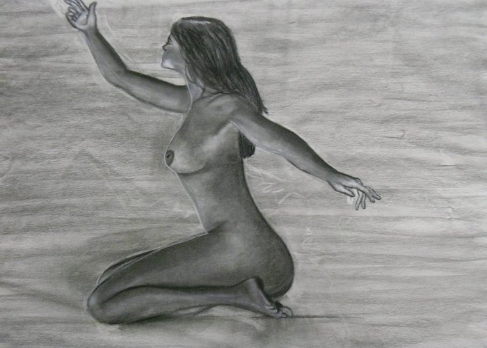 Woman Greeting Card featuring the drawing Bare by Katrice Kinlaw