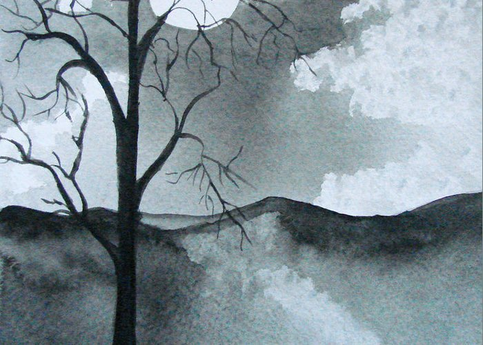 Tree Greeting Card featuring the painting Bare Tree In Moonlight by Dottie Briggs