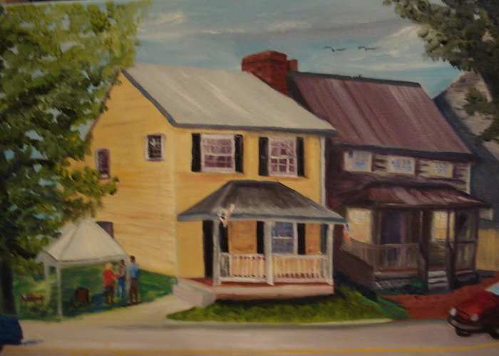 Antique Greeting Card featuring the painting Barefoot Boutique by Gloria Condon