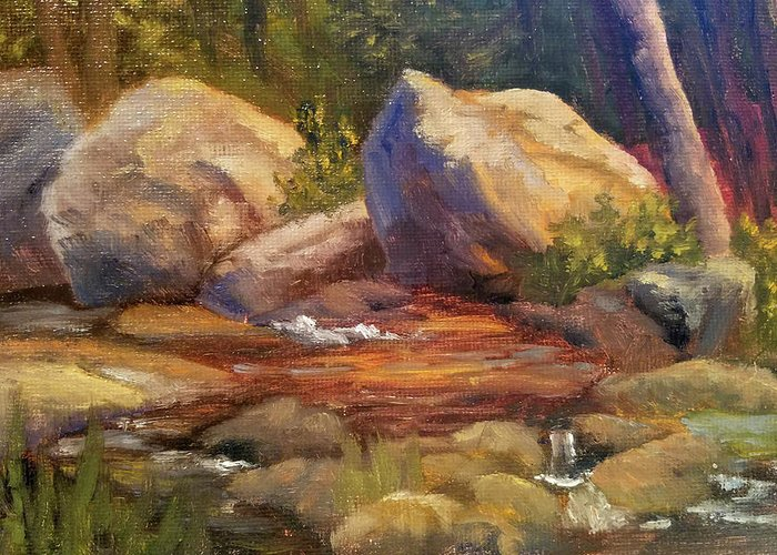 Rocks Greeting Card featuring the painting Barely a Trickle by Sharon E Allen
