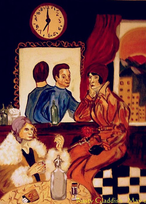 1920s Greeting Card featuring the painting Barflies by Rusty Gladdish