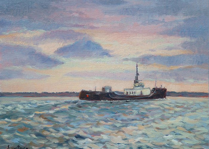 Maritime Greeting Card featuring the painting Barge On Port Phillip Bay by Ekaterina Mortensen