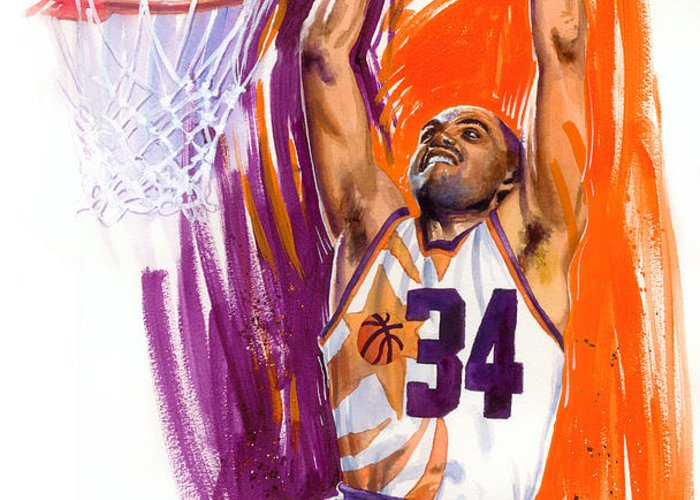 Charles Barkley Greeting Card featuring the painting Barkley by Ken Meyer jr