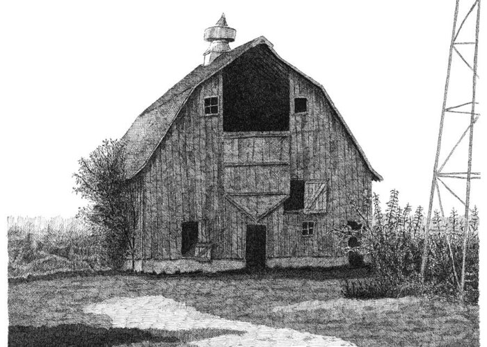 Barn Greeting Card featuring the drawing Barn 10 by Joel Lueck