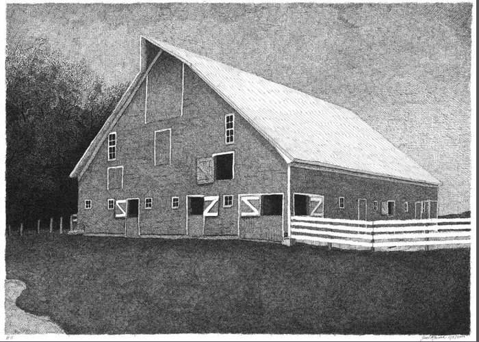 Landscape Greeting Card featuring the drawing Barn 11 by Joel Lueck