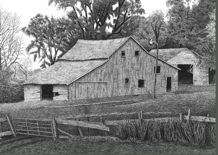Landscape Greeting Card featuring the drawing Barn 14 by Joel Lueck