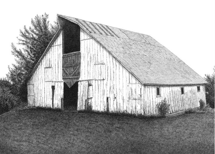 Barn Greeting Card featuring the drawing Barn 16 by Joel Lueck