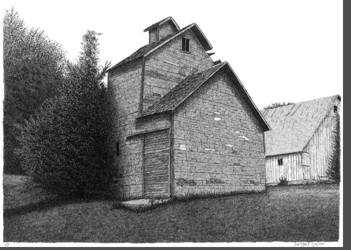 Barn Greeting Card featuring the drawing Barn 18 by Joel Lueck