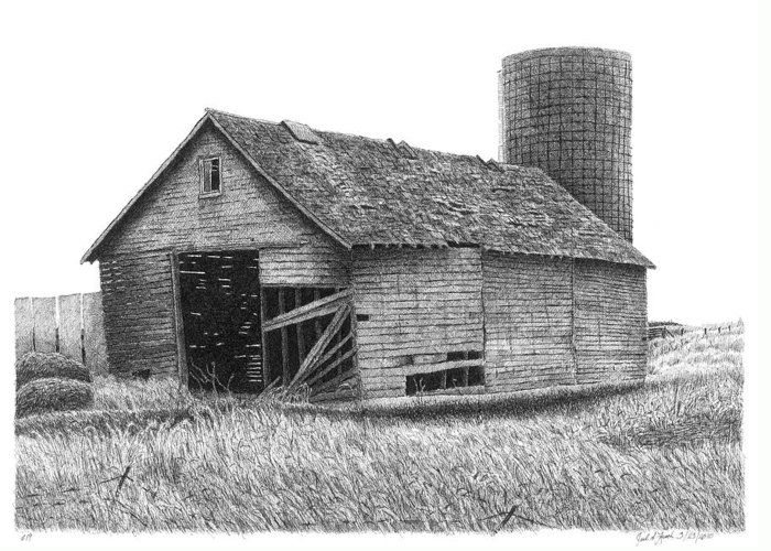 Barn Greeting Card featuring the drawing Barn 19 by Joel Lueck