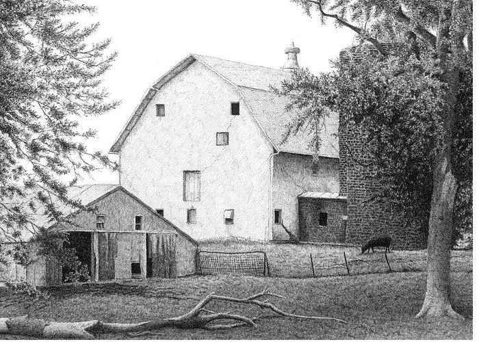 Manilla Greeting Card featuring the drawing Barn 23 by Joel Lueck