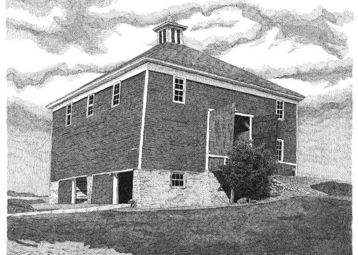Iowa Barn Greeting Card featuring the drawing Barn 7 by Joel Lueck