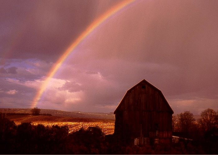Harvest Greeting Card featuring the photograph Barn And Rainbow In Autumn by Roger Soule