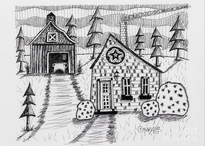 Barn Pen And Ink Drawings Greeting Cards