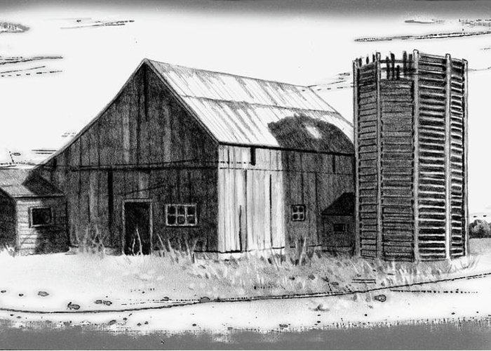 Barn Greeting Card featuring the drawing Barn And Silo Distressed Version by Joyce Geleynse