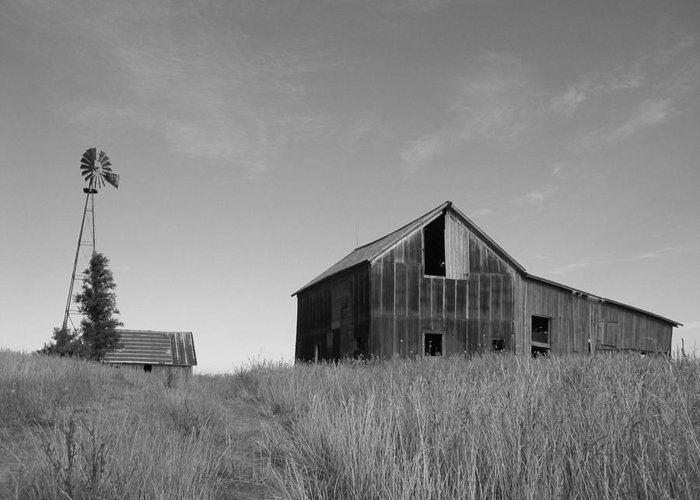 Landscape Greeting Card featuring the photograph Barn And Windmill II by Dylan Punke
