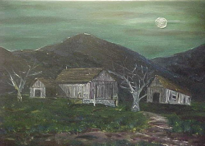 Greeting Card featuring the painting Barn At Night by Brian Hustead