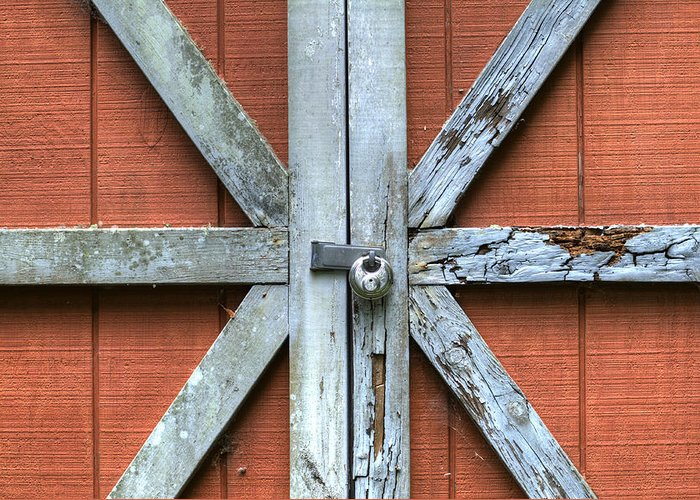 Barn Door Red Lock White Cross Dustin Ryan Charleston South Carolina Colorful British Flag Greeting Card featuring the photograph Barn Door 1 by Dustin K Ryan