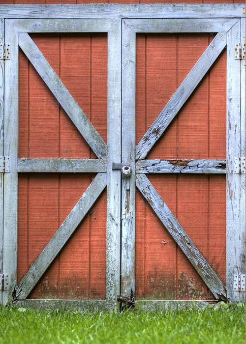 Barn Door Red Lock White Cross Dustin Ryan Charleston South Carolina Colorful Brittish Flag Greeting Card featuring the photograph Barn Door 3 by Dustin K Ryan